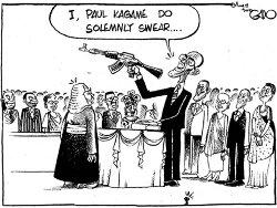Caricature - Paul Kagame prêtant serment