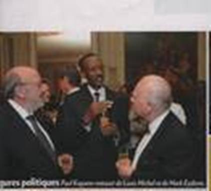 Louis Michel et Paul Kagame chez le Comte Hervé de Liedekerke/photo Paris Match